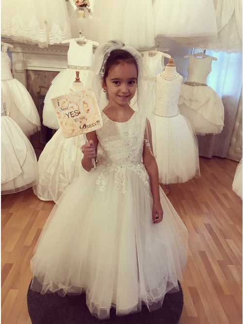 Sleeveless Scoop Lace Beaded White Flower Girl Dresses