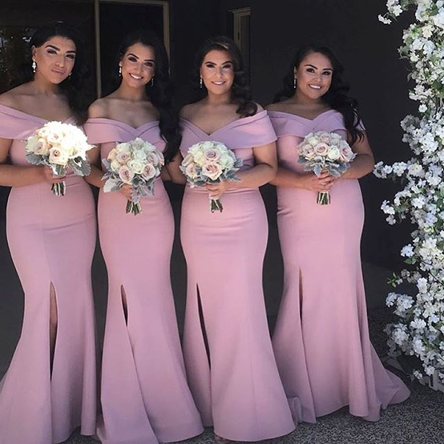 Sexy Mermaid Pink Bridesmaid Dresses Off the Shoulder