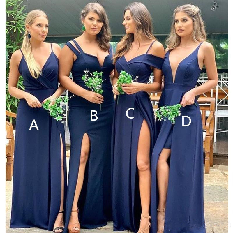 Cheap Mismatched Mermaid Navy Blue Bridesmaid Dresses