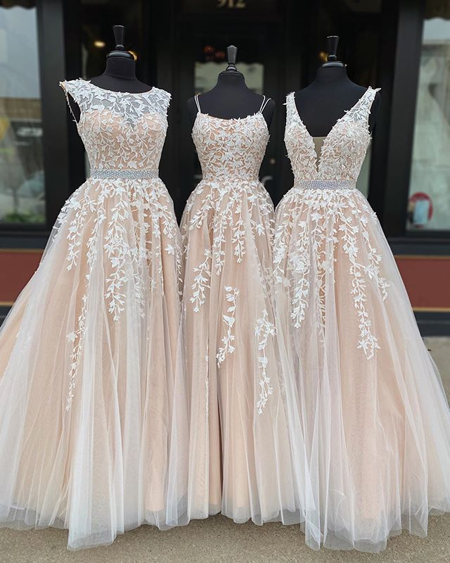 lace tulle formal dresses