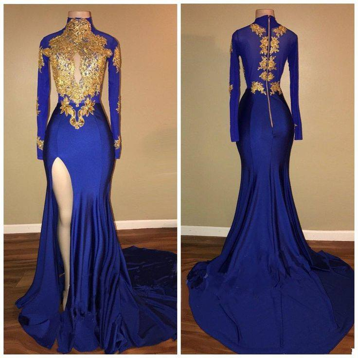 Blue Gold Evening Gowns