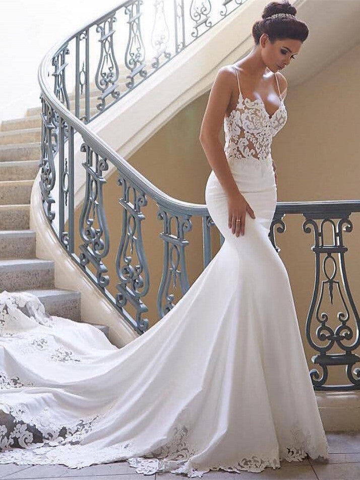 Sexy Mermaid Spaghetti Strap Chiffon Lace Wedding Dresses