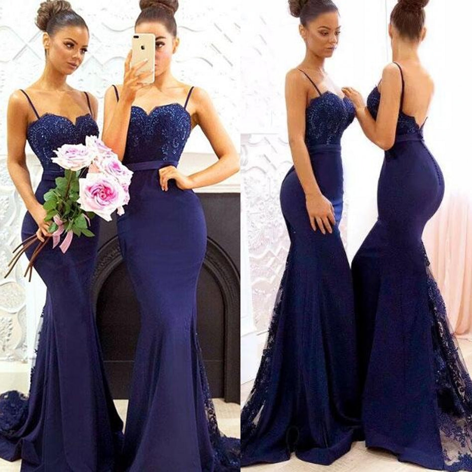 Sexy Spaghettis Straps Lace Dark Navy Bridesmaid Dresses