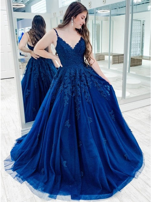 A Line Blue Lace Prom Dresses Long Sleeveless Evening Gown
