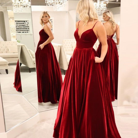 Long Deep V Neck Burgundy Velvet Prom Dresses with Pockets