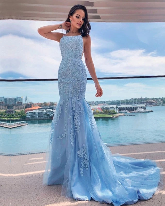 Sexy Mermaid Light Blue Lace Prom Dresses Open Back