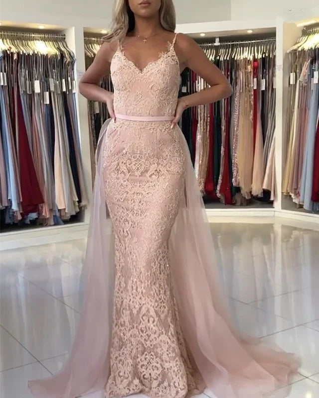 V Neck Long Mermaid Pink Lace Prom Dresses Open Back