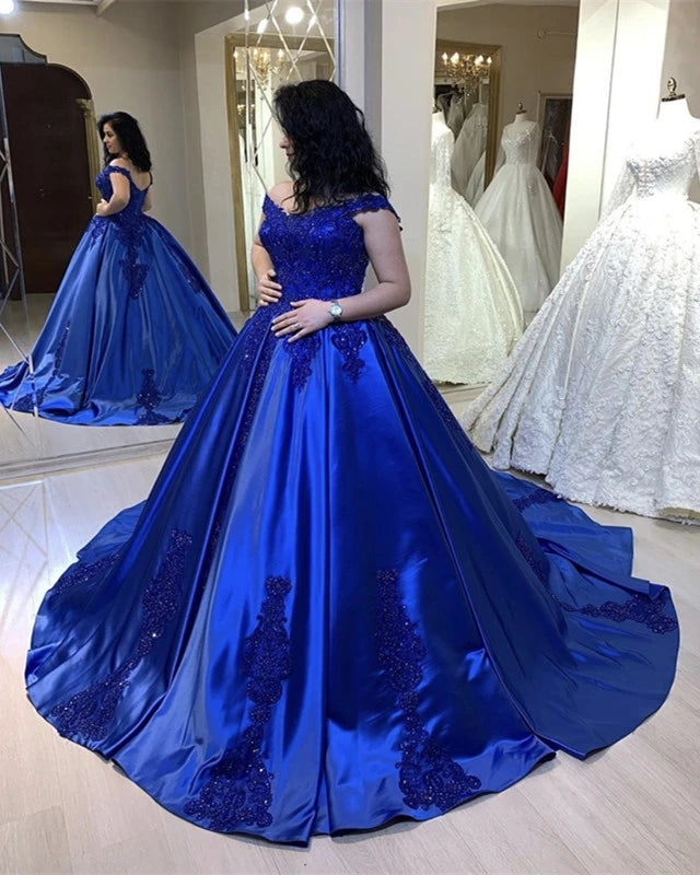 Off Shoulder Royal Blue Lace Satin Ball Gown Quinceanera Dresses