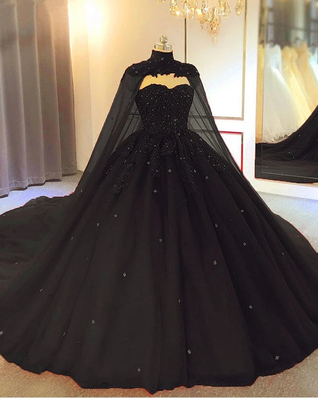 Ball Gown Appliques Crystals Gothic Black Weddng Dresses Sleeveless with Cape