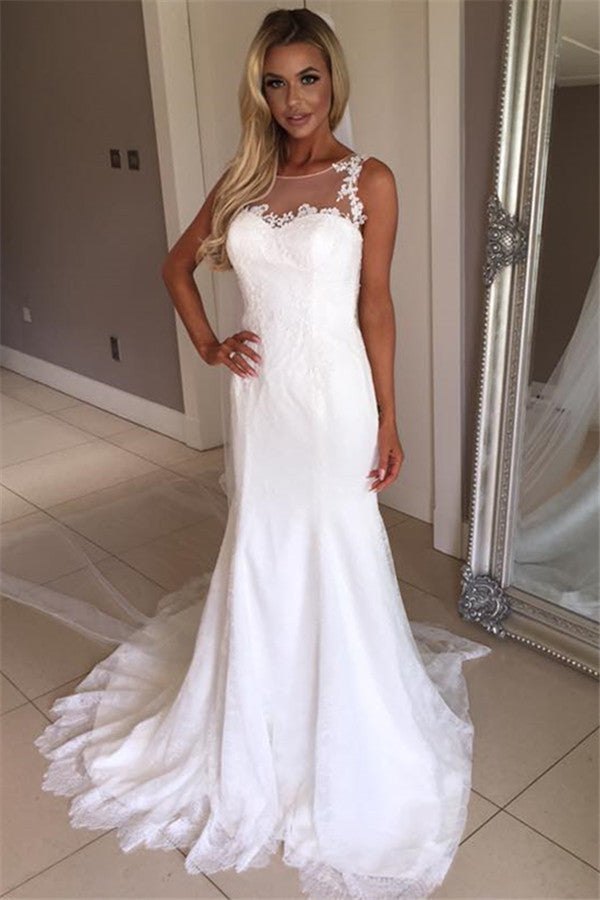Sexy Floor Length Sleeveless Mermaid Lace White beach Wedding Dresses