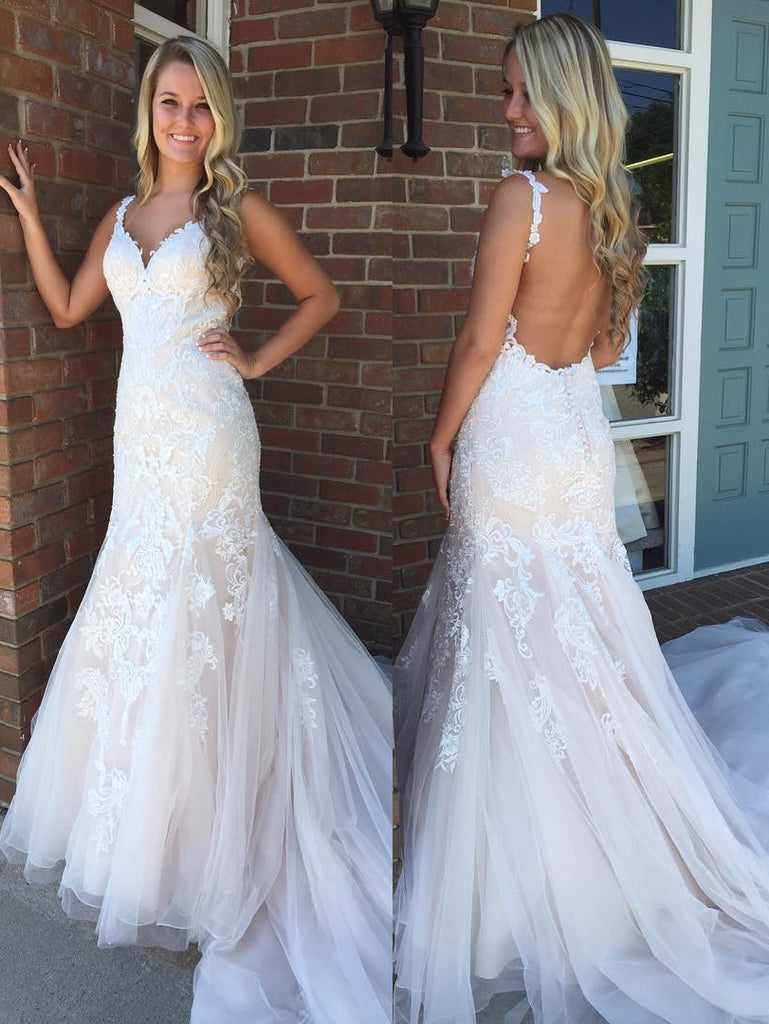 Modern Straps V Neck Lace Mermaid Ivory Wedding Dresses
