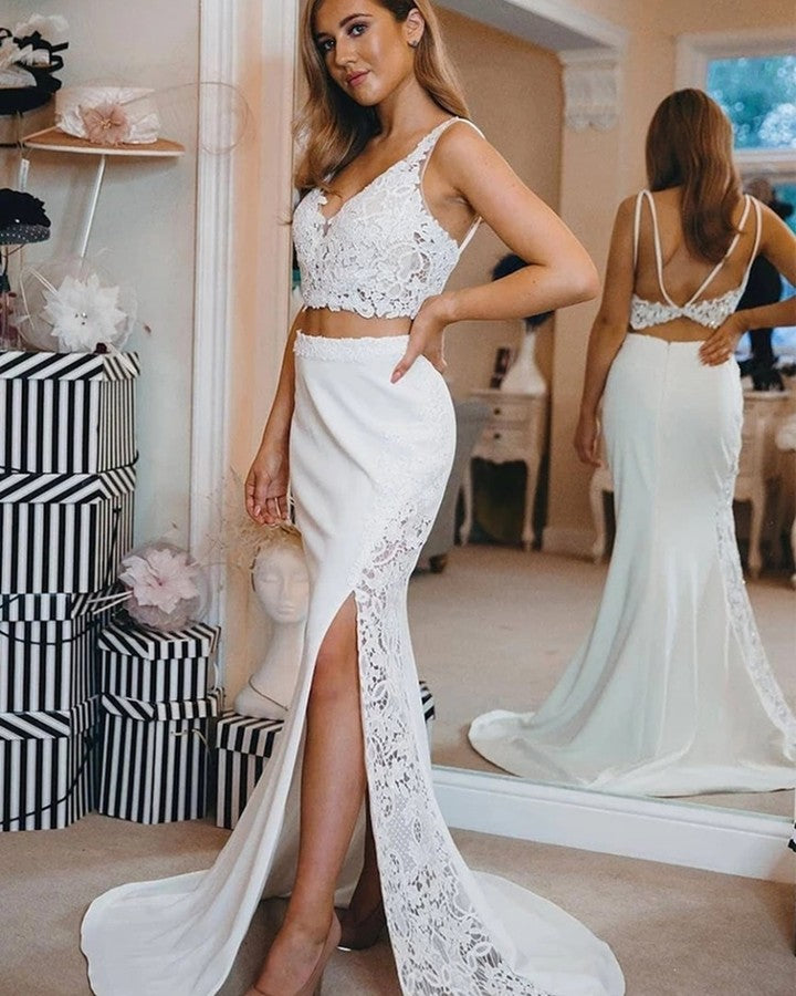 Sexy Straps Mermaid Two Pieces Beach Wedding Dresses Maxi Dress