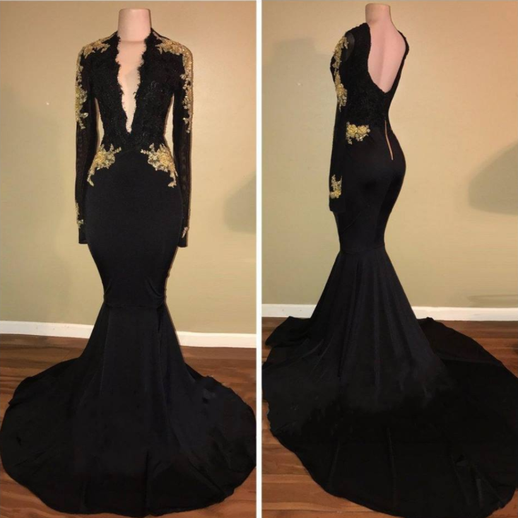 Black Gold Prom Dresses
