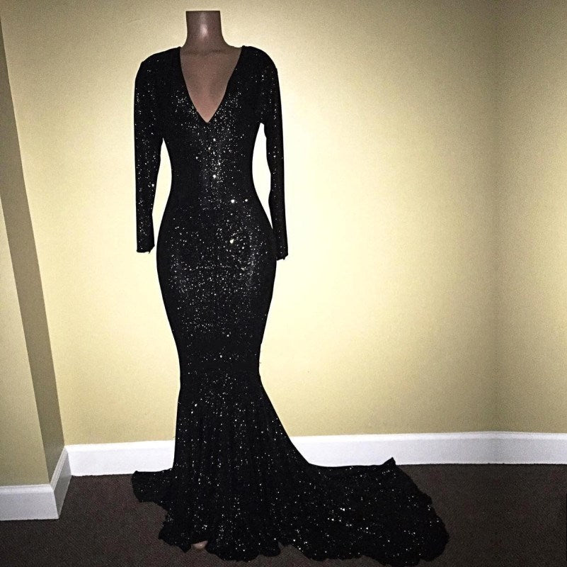 Mermaid Long-Sleeves Black Sequined Prom Dresses