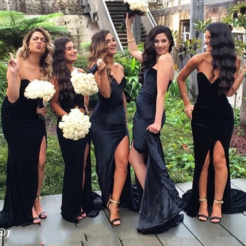 velvet bridesmaid dresses black