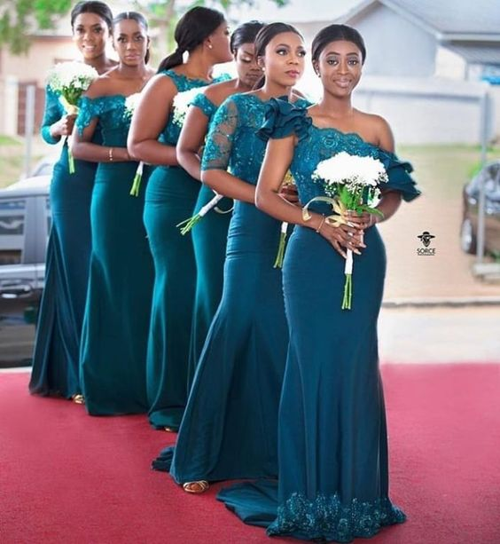 Mermaid Lace Dark Teal Bridesmaid Dress Embroidery Maid Of Honor Dress