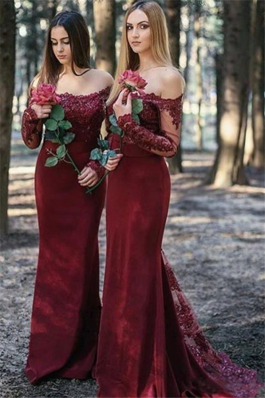 long sleeves bridesmaid dresses