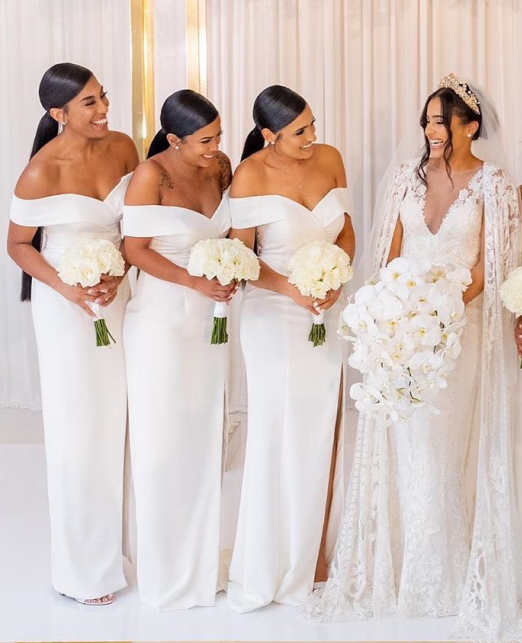 Sexy Mermaid Off the Shoulder White Bridesmaid Dresses Split