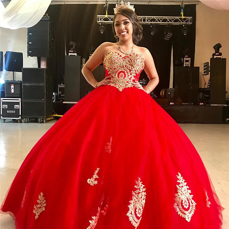 Red Ball Gown Quinceanera Dress