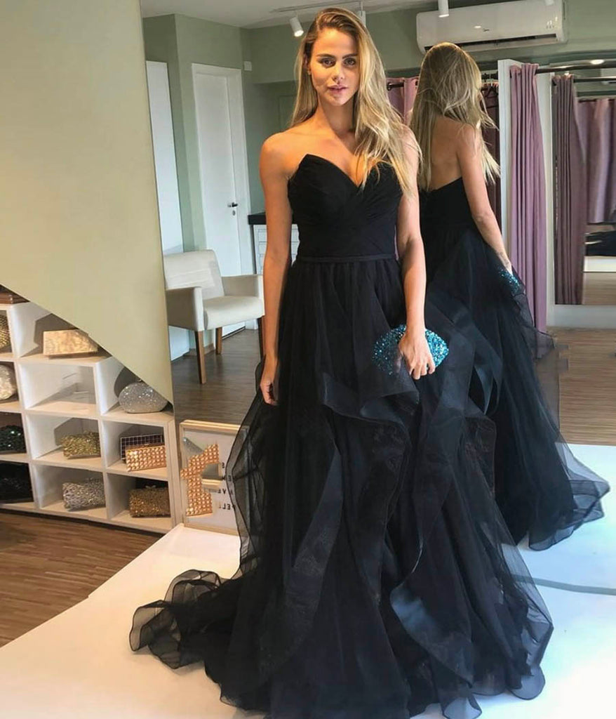 A Line Sweetheart Black Tulle Prom Dresses Sleeveless