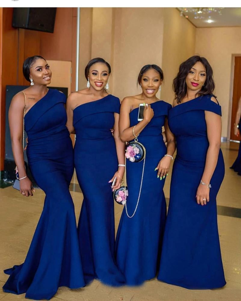 one shoulder blue bridesmaid dresses