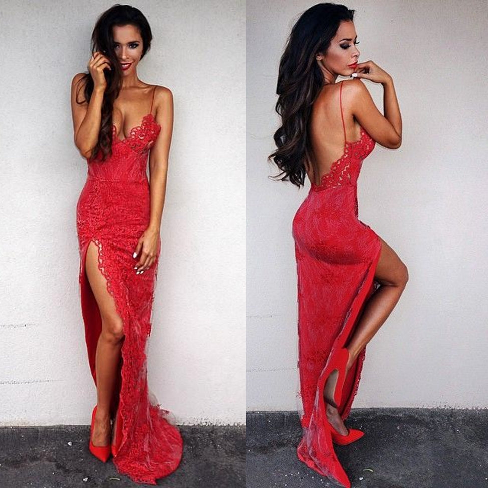 Red Backless formal Dresses