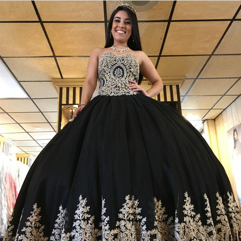 15 Dresses Sweetheart Black Lace Ball Gown Quinceanera Dresses