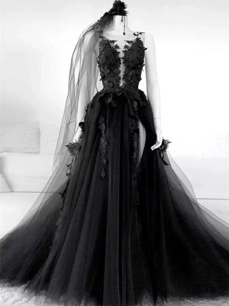 Gothic wedding dresses black