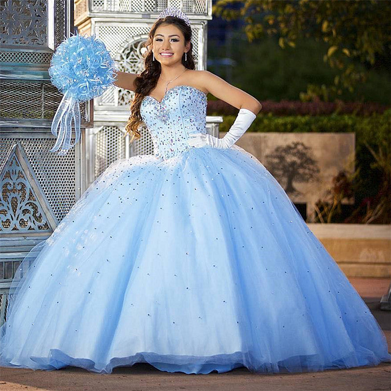 Ball Gown Sweet 16 Dresses Sweetheart Beadings Blue Quinceanera Dresses
