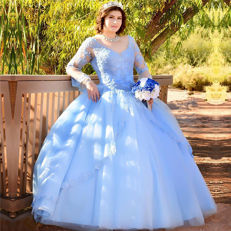 Blue V-neck 15 Dresses Illusion Long-Sleeves Quinceanera Dresses