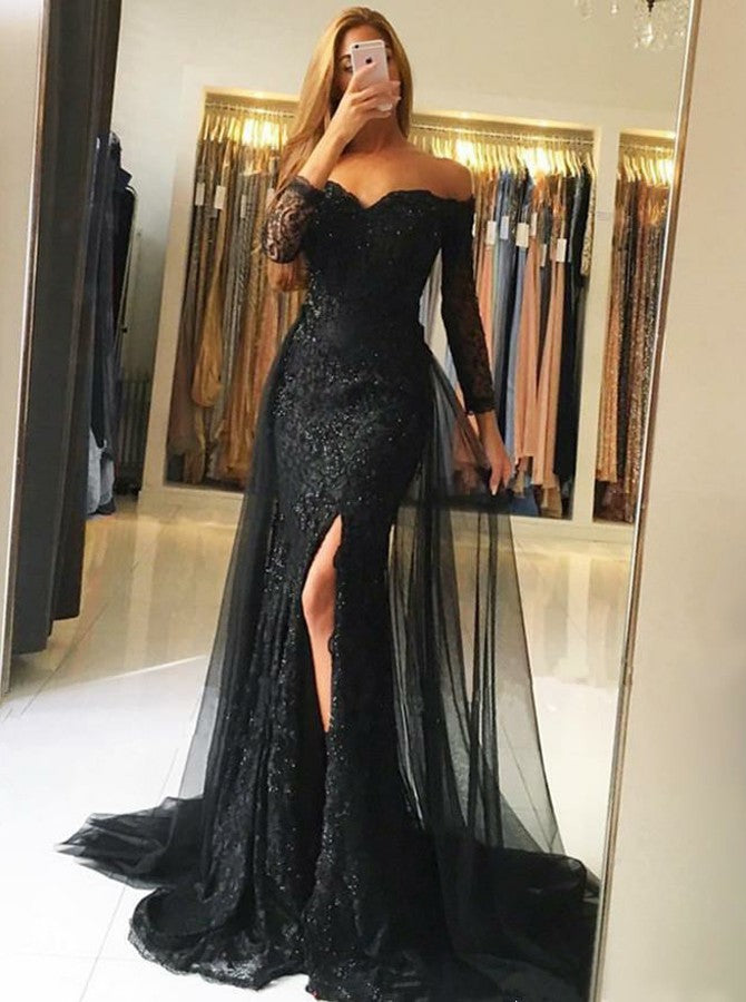 Off-the-Shoulder Side-Slit Sexy Black Prom Dresses