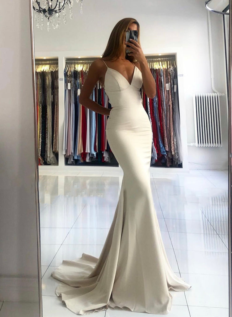 Ivory Prom Dresses Mermaid Long V Neck Evening Gown