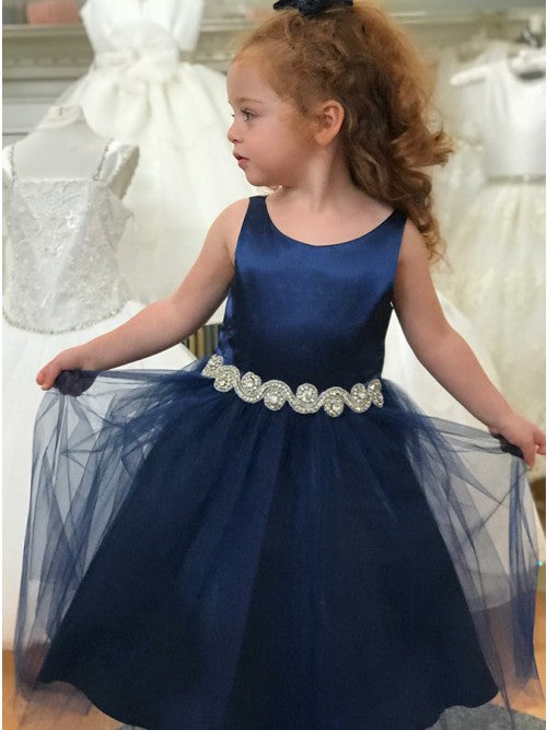 Scoop Satin Tulle Navy Blue Flower Girl Dresses with Belt