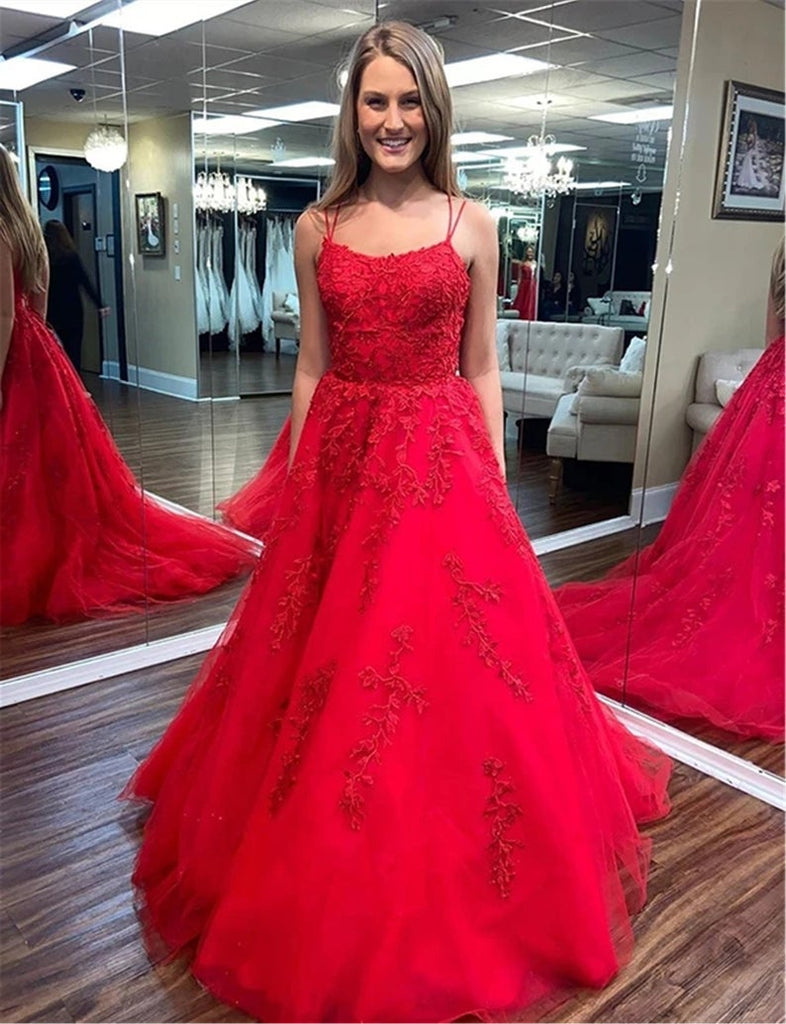 A Line Spaghetti Straps Red Lace Long Prom Dresses