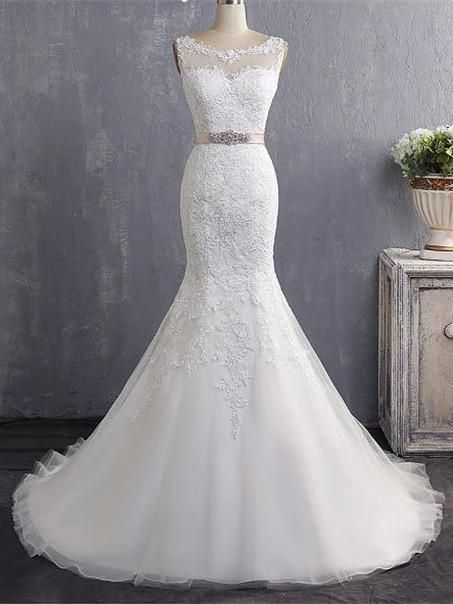 Bateau Neckline Mermaid Tulle Lace Wedding Dresses With Appliques