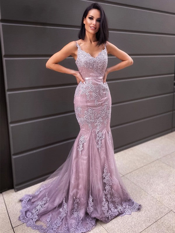 Hot V Neck Sleeveless Long Mermaid Lace Prom Dresses