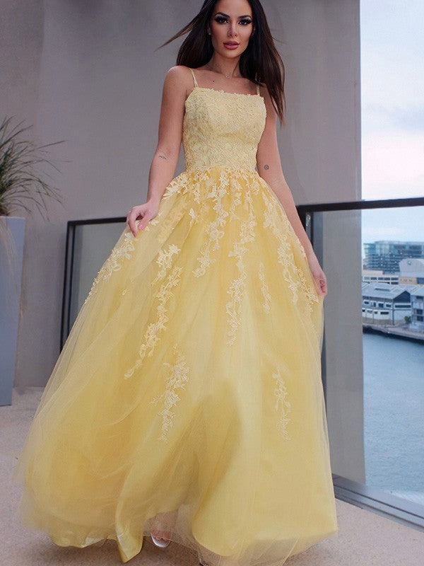 A Line Lace Long Sleeveless Prom Dresses Yellow Spaghettis Straps
