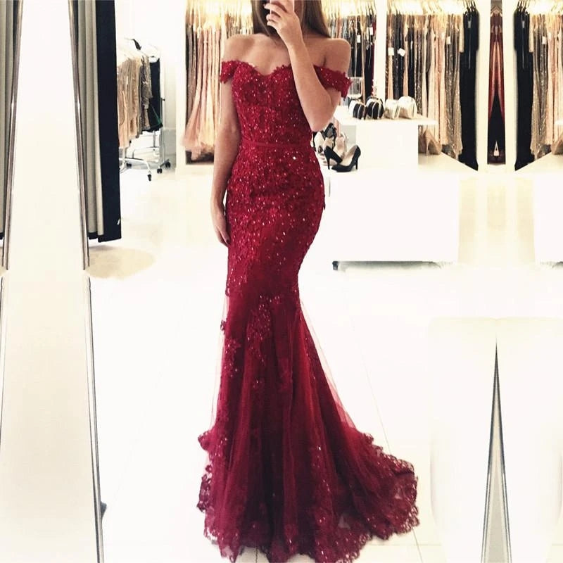Off the Shoulder Lace Mermaid Burgundy Prom Dresses