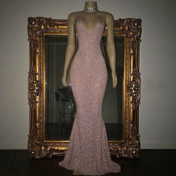 Mermaid Sleeveless Long Rose Pink Sequin Prom Dresses