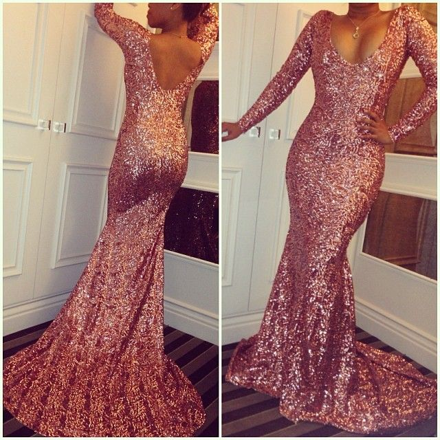 Simple Pink Sequin Prom Dresses Sexy Long-Sleeves Mermaid Dress