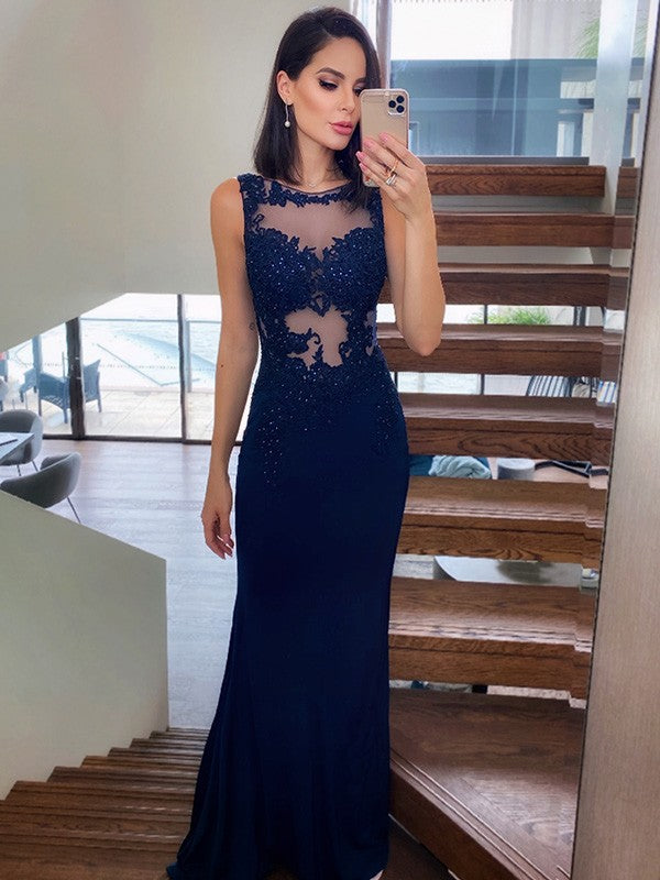 Sexy Mermaid Lace Navy Blue Prom Dresses Sleeveless Evening Gowns