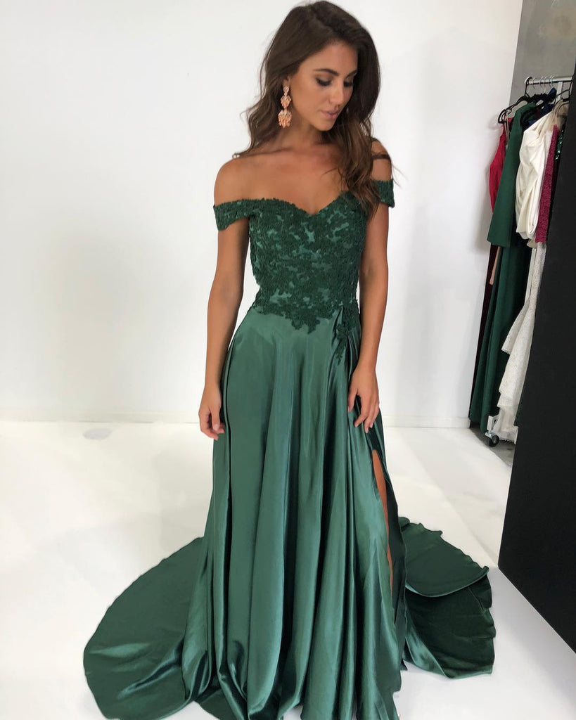 Sheath Off the Shoulder Lace Prom Dresses Long Evening Gowns