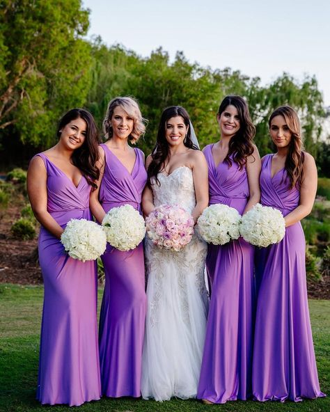 Sheath V Neck Chiffon Sleeveless Purple Bridesmaid Dresses