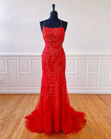 red prom dress lace