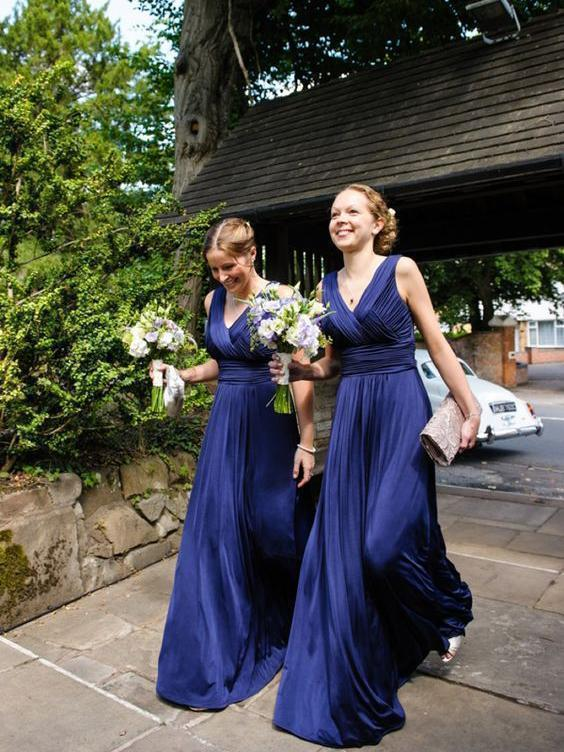 Sheath Long Royal Blue Bridesmaid Dresses V Neck Pleated Sleeveless
