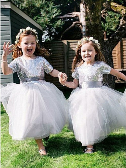 Short Sleeves Tea Length Sequin Tulle Silver Flower Girl Dresses