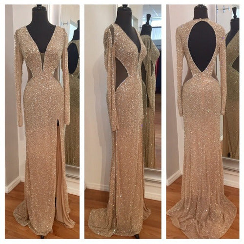 Sheer Sexy Sequins Long Sleeves Prom Dresses
