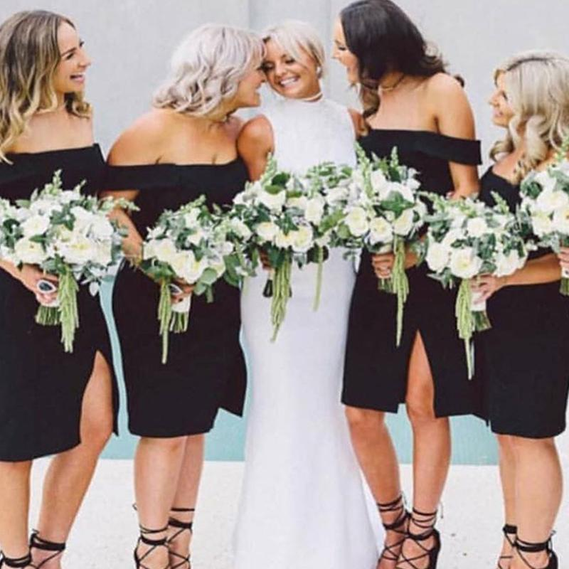 off the shoulder bridesmaid dresses