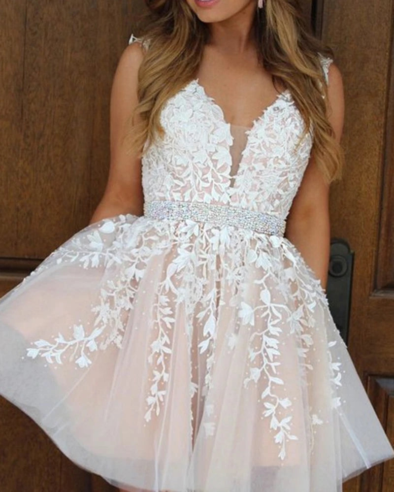 A Line Short Lace Prom Dresses with Beading Belt