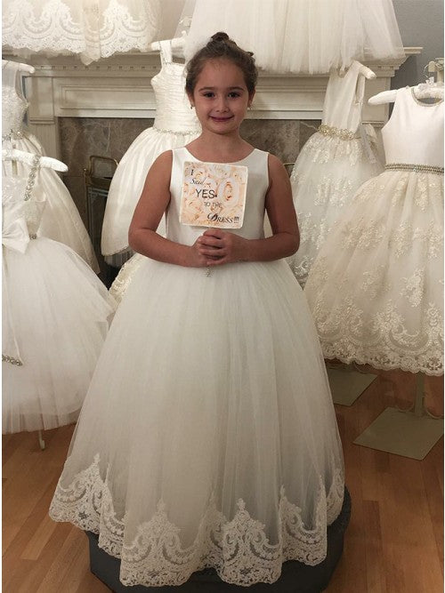 White Scoop Ball Gown Tulle Lace Flower Girl Dresses